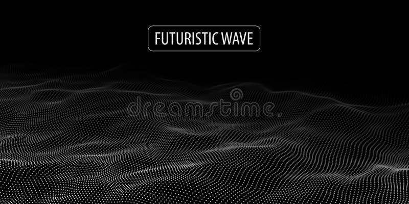 Golf van deeltjes Abstracte achtergrond met een dynamische golf Grote Gegevens Vector illustratie royalty-vrije illustratie