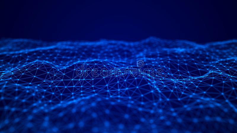 Golf van het doorweven van punten en lijnen abstracte achtergrond Technologische stijl voor wetenschap, grote gegevens het 3d ter vector illustratie