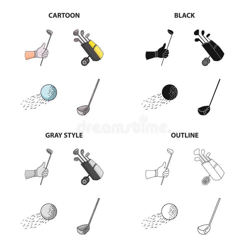 Golf a vara à disposição, embocador no saco, bola em voo, vara Ícones ajustados da coleção do golfe no esboço do monochrome do pr ilustração royalty free