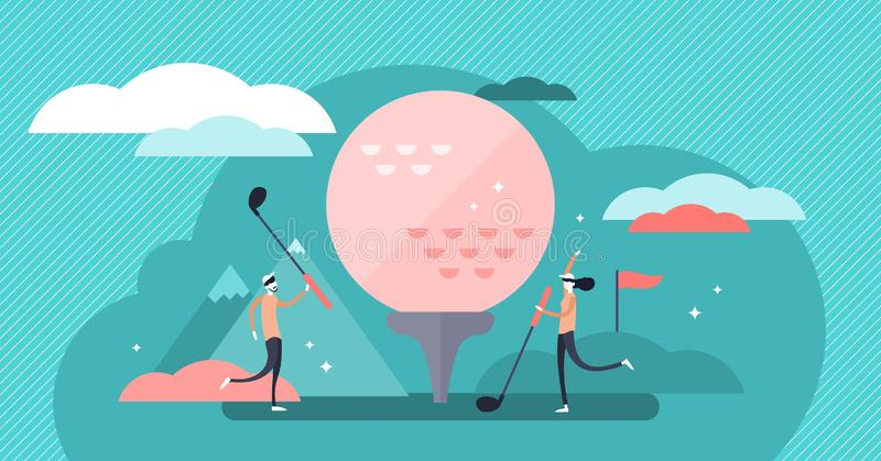 Golf vector illustration. Flat tiny fun lawn ball game hobby person concept. Abstract competition equipment and vintage outdoor activity for recreation and stock illustration