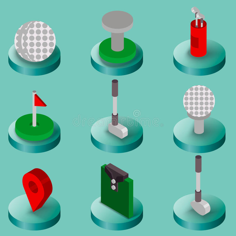 Golf vlak isometrische reeks royalty-vrije illustratie