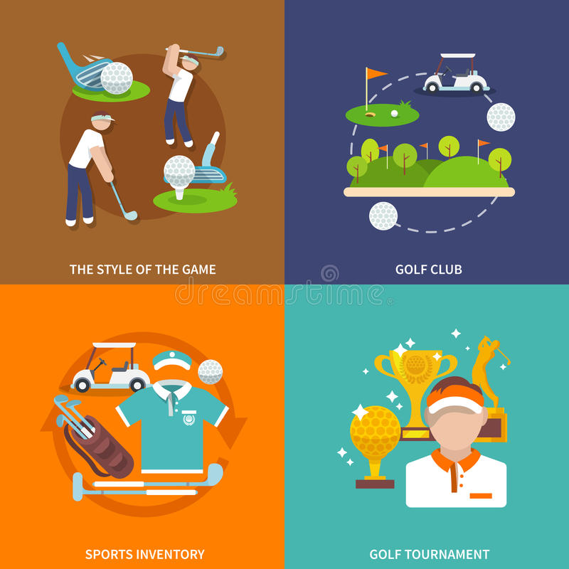 Golf vlakke reeks stock illustratie