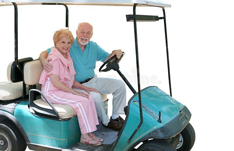 Golf-Wagen-Ältere getrennt lizenzfreie stockbilder