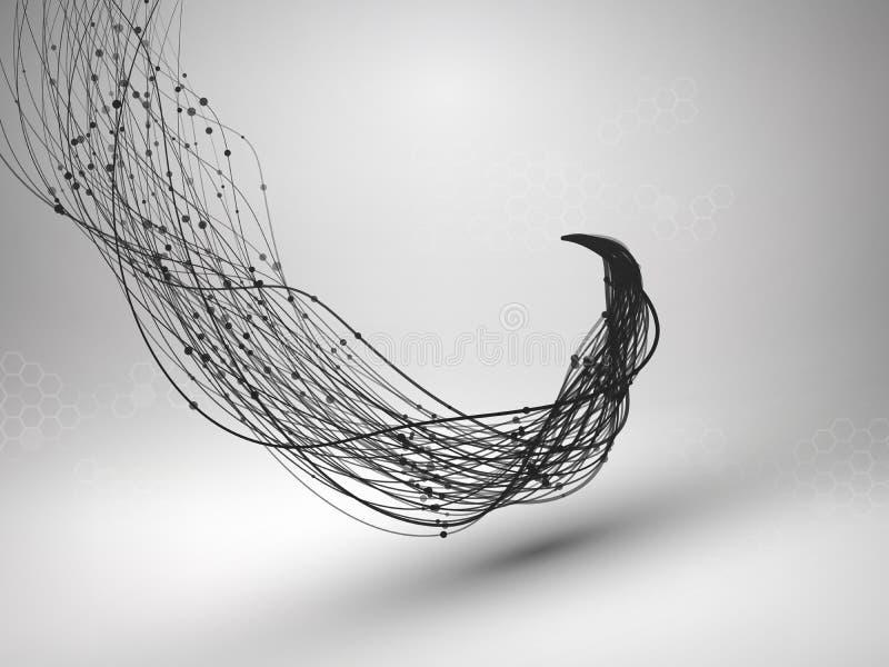 golf Werveling met verbonden lijn en punten Getelegrafeerde structuur Het concept van de aansluting De achtergrond van de technol vector illustratie