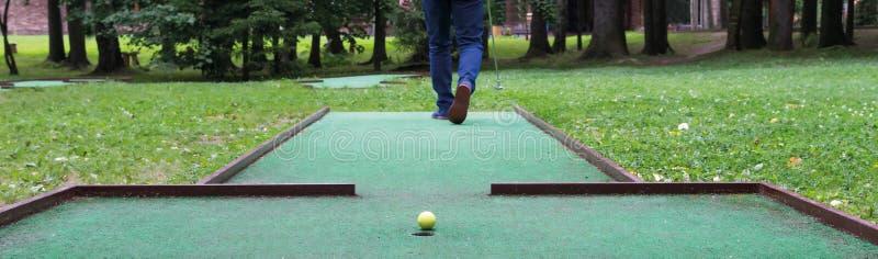 Golfa gracz iść dla kopnięcia, w górę obraz royalty free