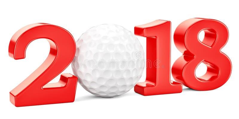 Golfa 2018 pojęcie, 3D ilustracji