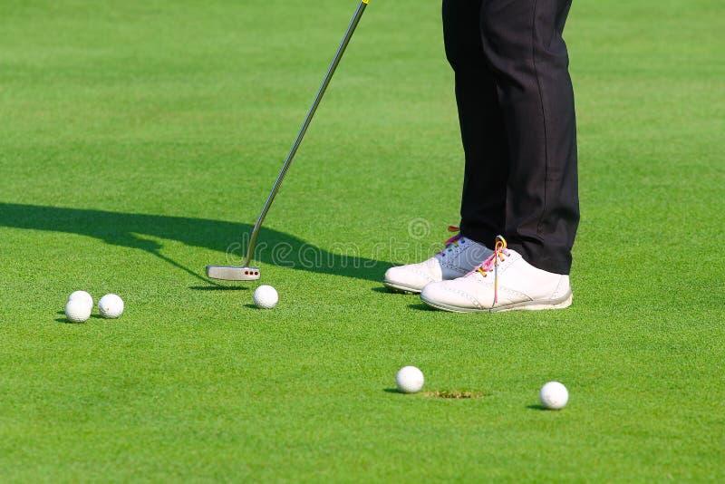 Golfareövning som sätter golfboll på den gröna golfen, aftontid royaltyfri bild