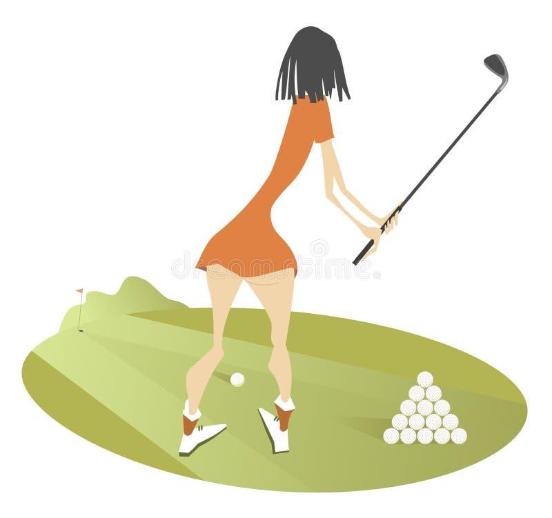 Golfare för ung kvinna på den isolerade golfbanaillustrationen royaltyfri illustrationer