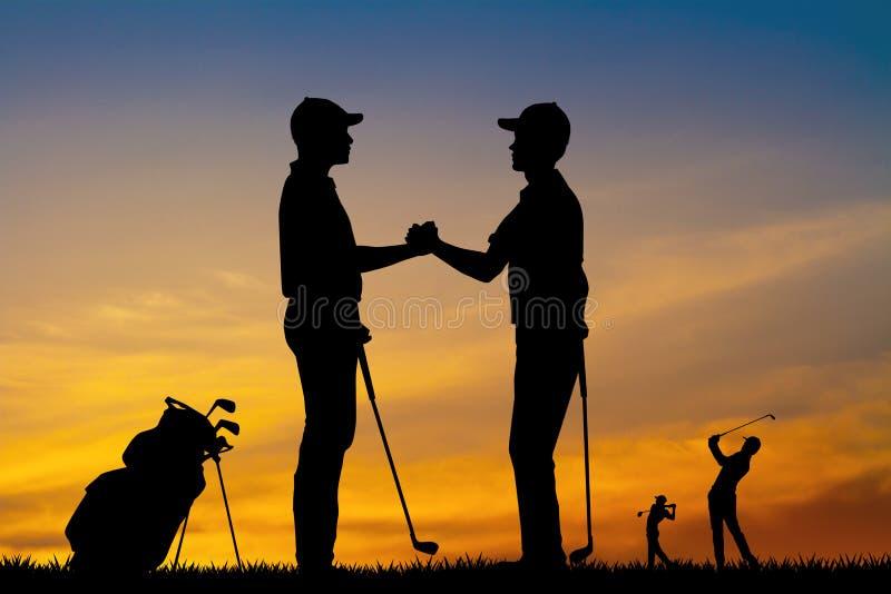 Golfare skakar händer för seger stock illustrationer