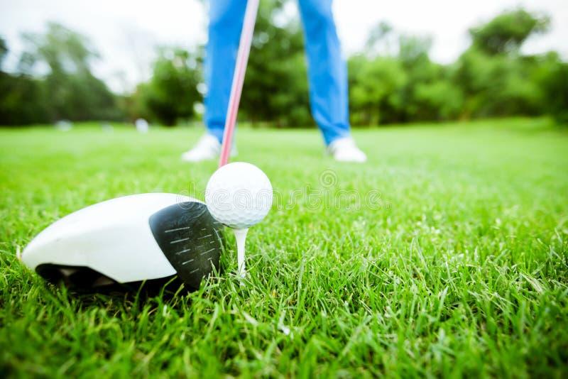 Golfare som får klar att ta ett skott royaltyfria bilder