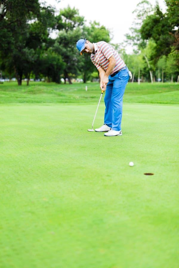 Golfaren tar skottet för sättande gräsplan arkivbild