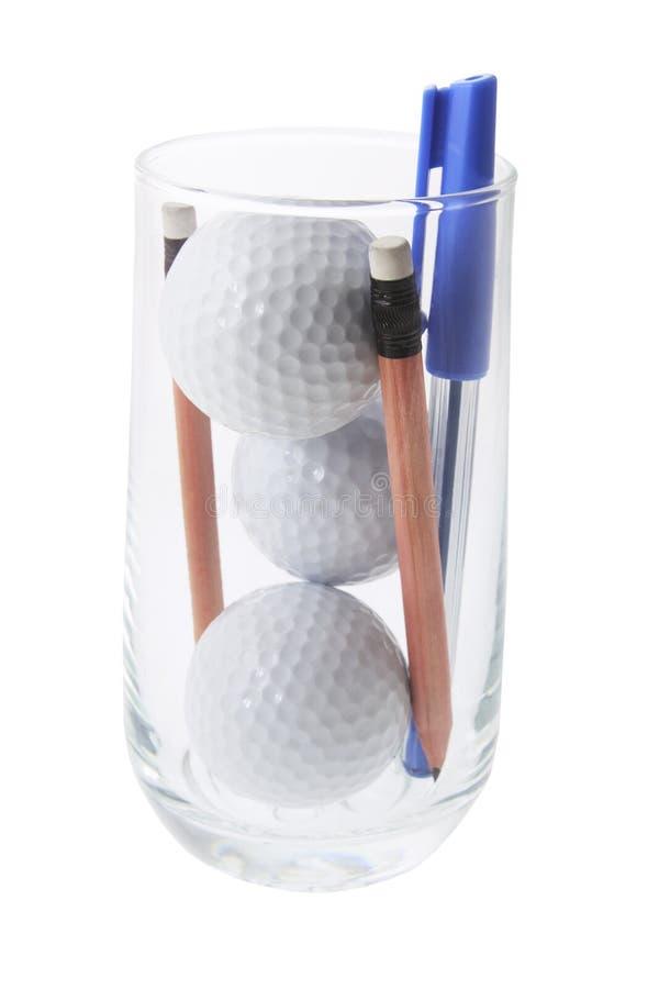 Golfbälle im Glas lizenzfreies stockbild