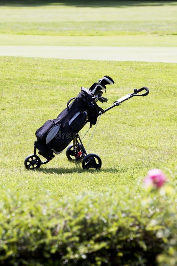 Golfbag sur un terrain de golf en été photographie stock libre de droits
