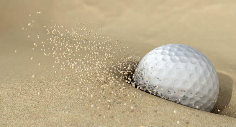 Golfbal in Actie die het Zand van de Bunker raakt royalty-vrije stock foto