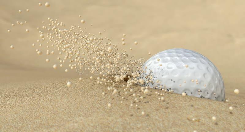 Golfbal in Actie die het Zand van de Bunker raakt royalty-vrije stock fotografie