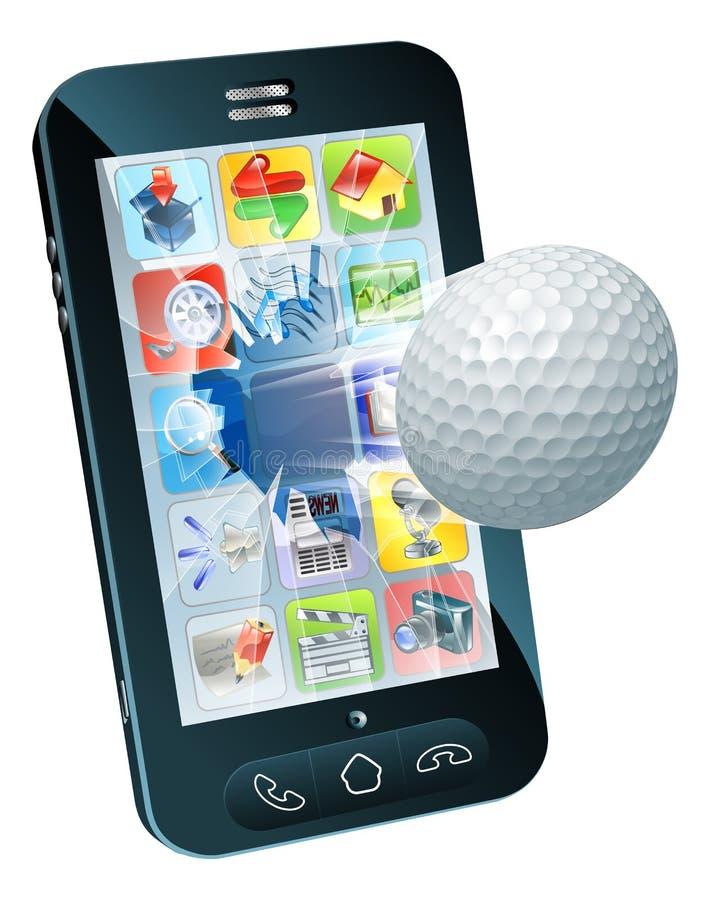 Golfbal die uit mobiele telefoon vliegt stock illustratie