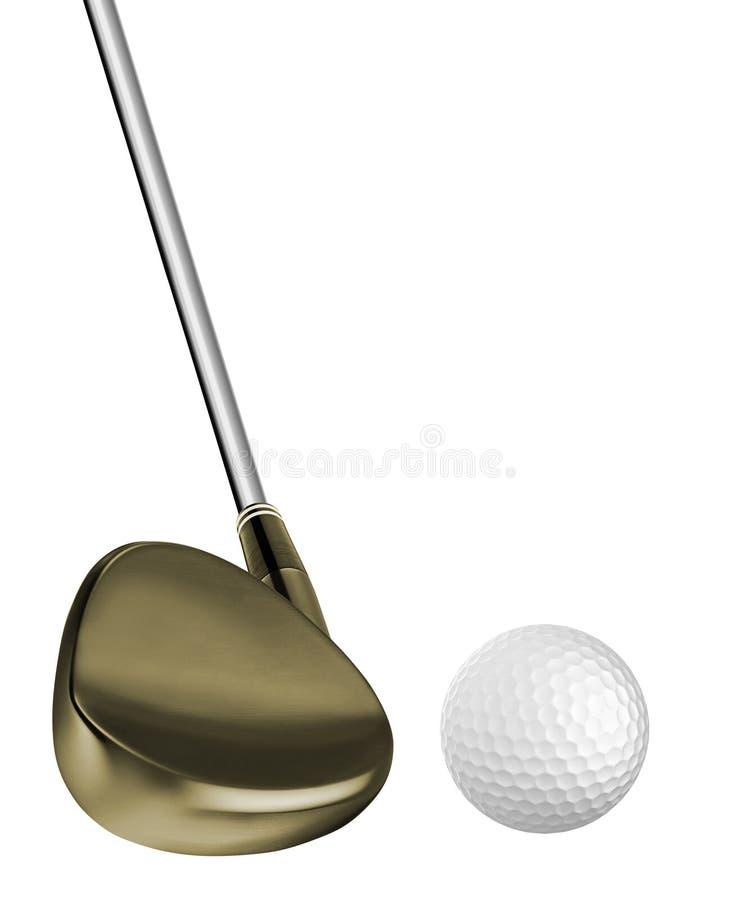 Golfbal en een golfclub royalty-vrije stock afbeeldingen