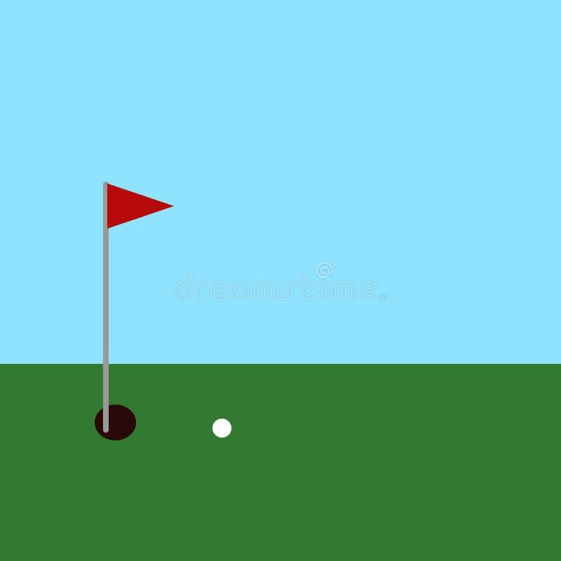 Golfbal en gat met rode vlag op groen gras vector illustratie