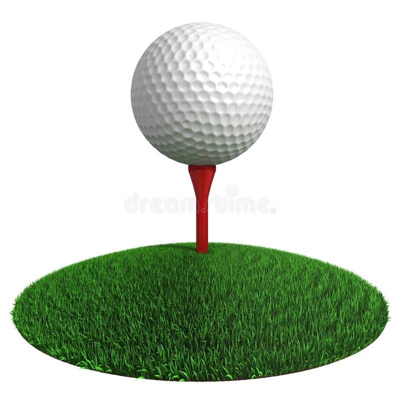 Golfbal en rood T-stuk op groene grasschijf stock illustratie