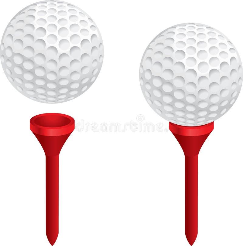 Golfbal en T-stuk stock fotografie