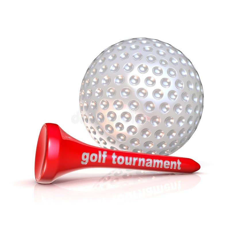 Golfbal en T-stuk Het teken van golftoernooien stock illustratie