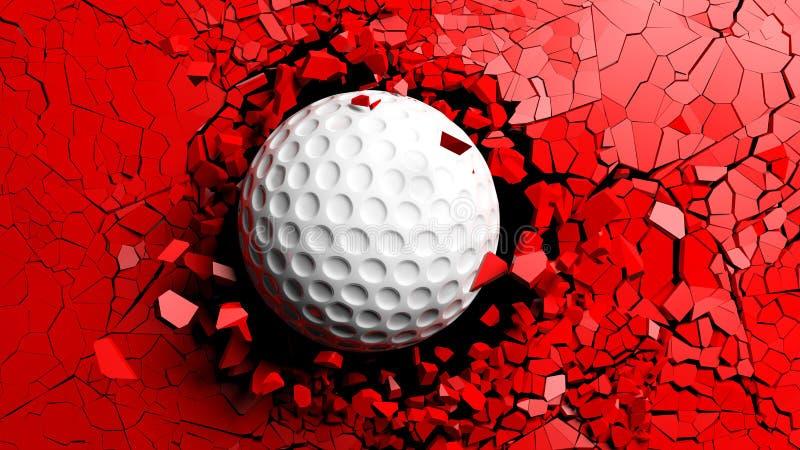Golfbal het breken zeer sterk door een rode muur 3D Illustratie stock illustratie