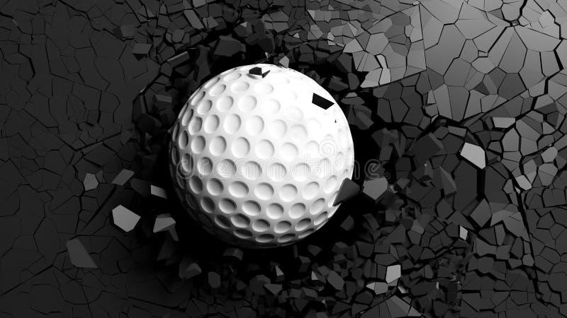 Golfbal het breken zeer sterk door een zwarte muur 3D Illustratie stock illustratie