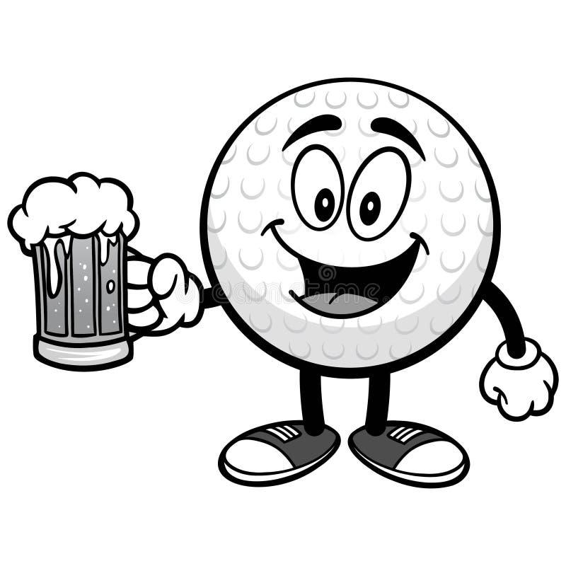 Golfbal met Bierillustratie royalty-vrije illustratie