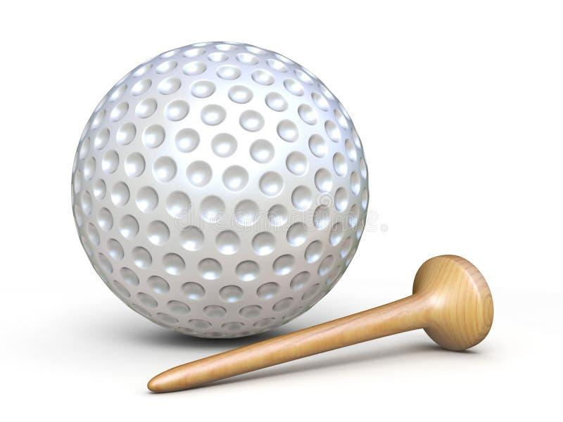 Golfbal met houten T-stuk 3D teruggevende illustratie royalty-vrije illustratie