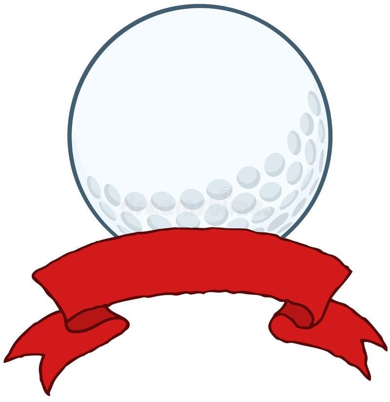 Golfbal met Rode Lintbanner vector illustratie