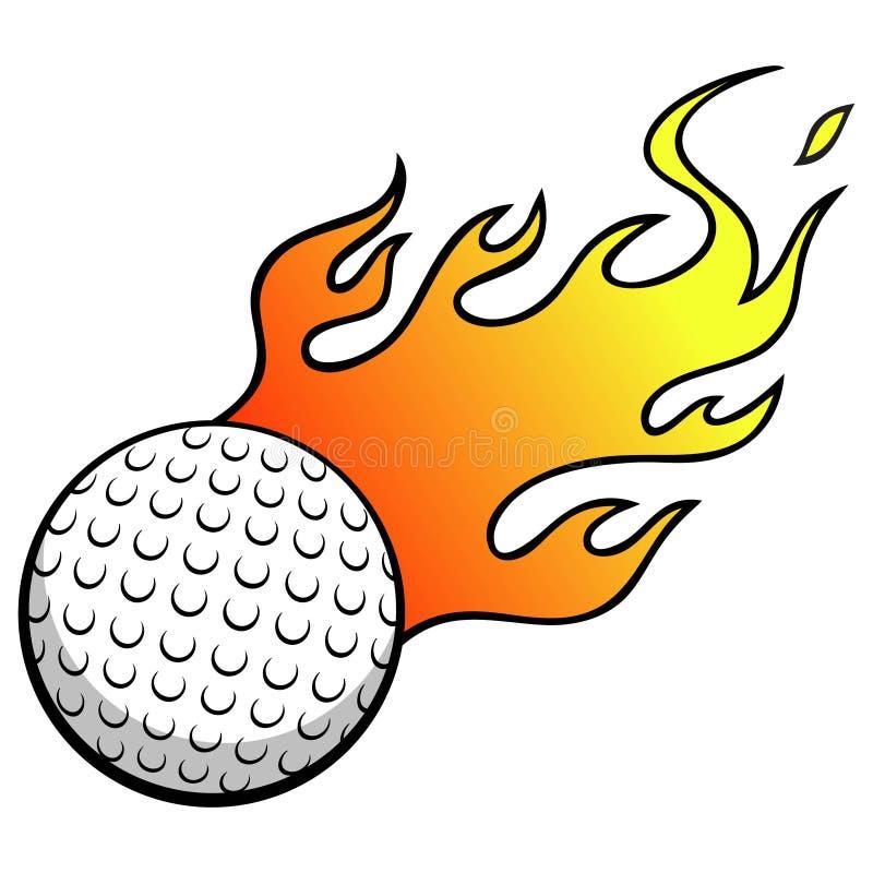 Golfbal met vlammen stock illustratie
