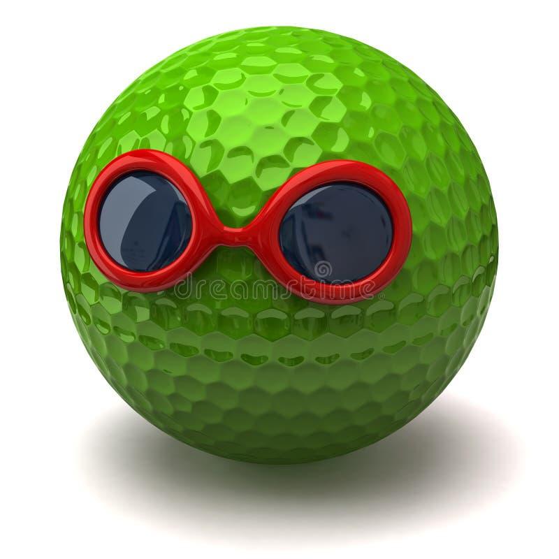 Golfbal met zonnebril stock illustratie