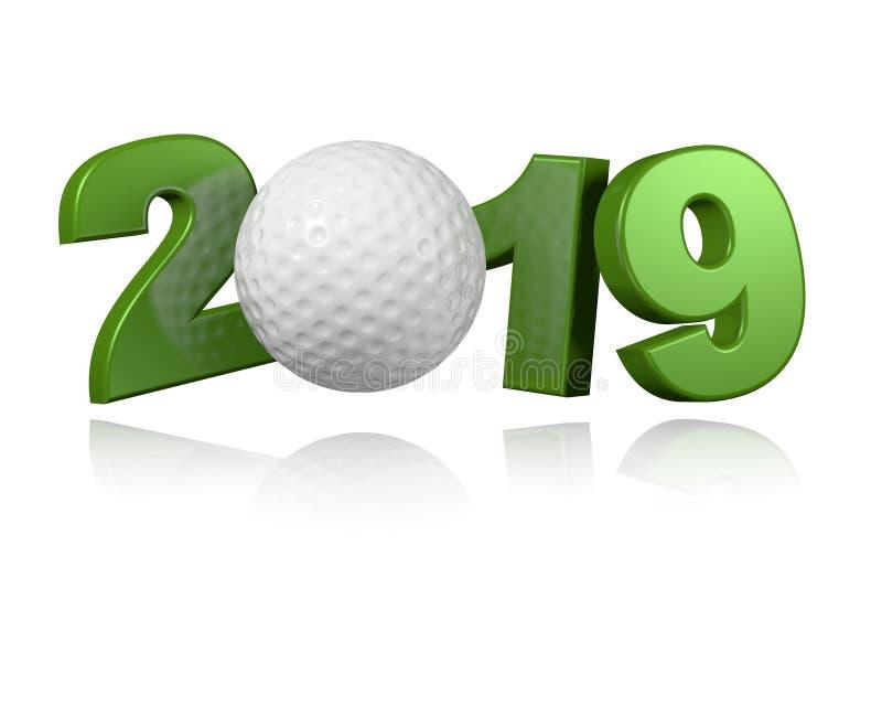 Golfbal 2019 Ontwerp vector illustratie