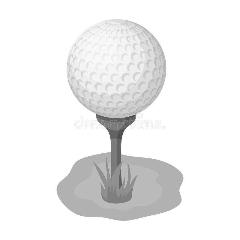 Golfbal op de tribune Golfclub enig pictogram in het zwart-wit Web van de de voorraadillustratie van het stijl vectorsymbool vector illustratie