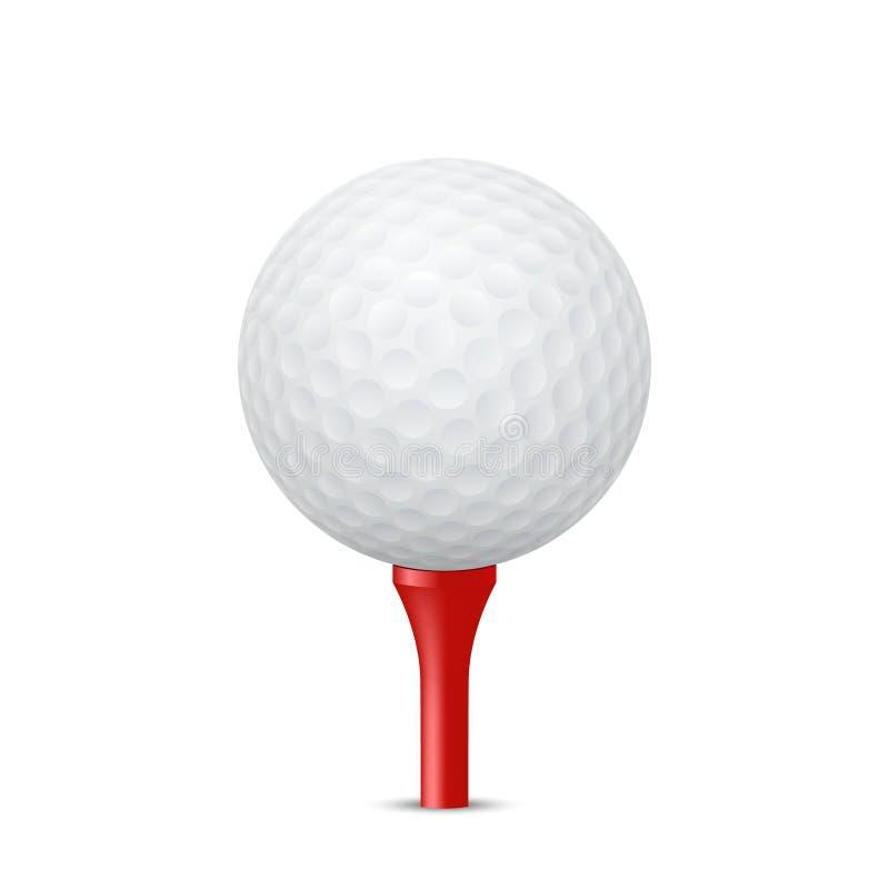 Golfbal op een rood T-stuk Vector illustratie vector illustratie