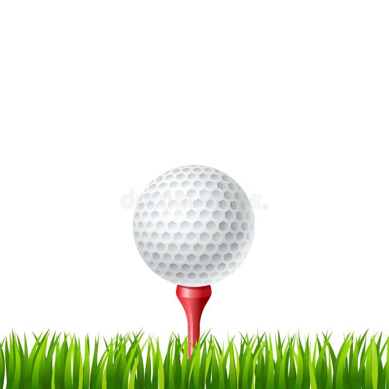 Golfbal op een T-stuk stock illustratie