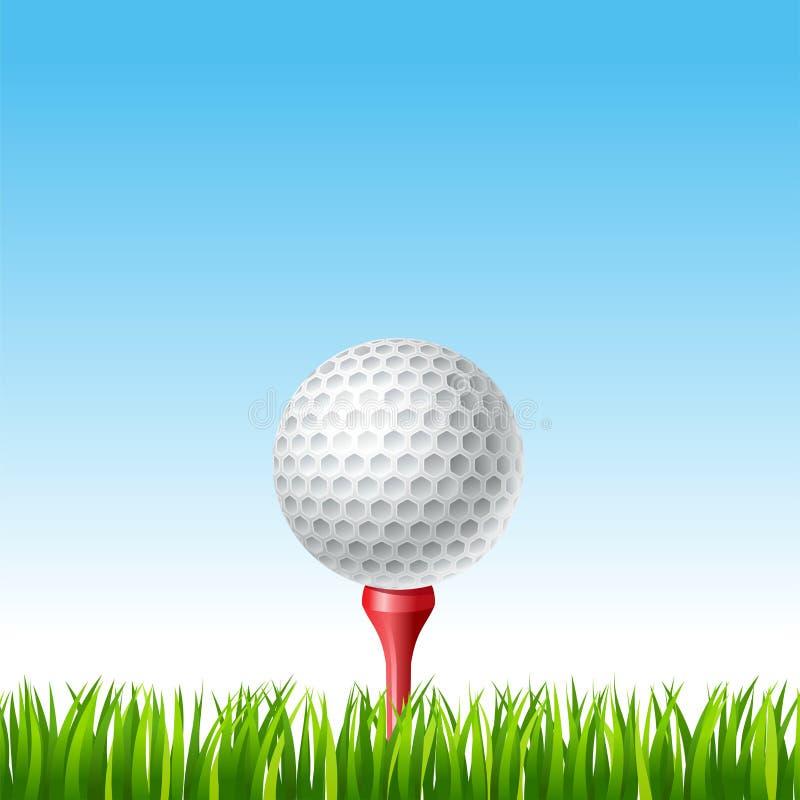 Golfbal op een T-stuk op een gras royalty-vrije illustratie
