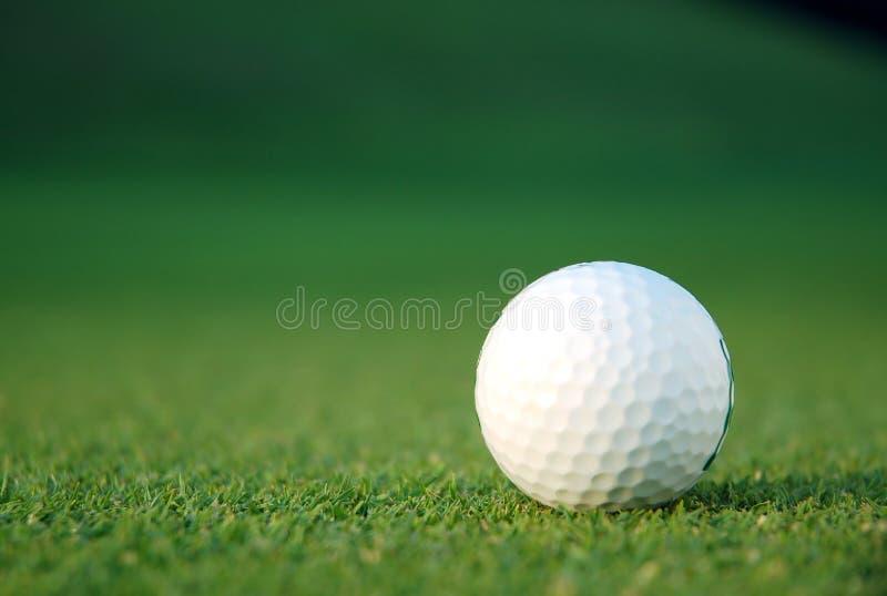 Golfbal op green stock foto's