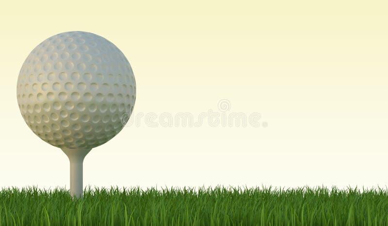 Golfbal op het groene gazon vector illustratie