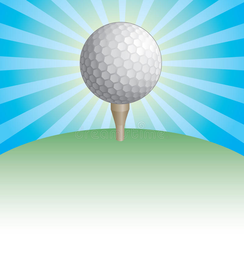 Golfbal op het Ontwerp van de T-stukzonnestraal royalty-vrije illustratie