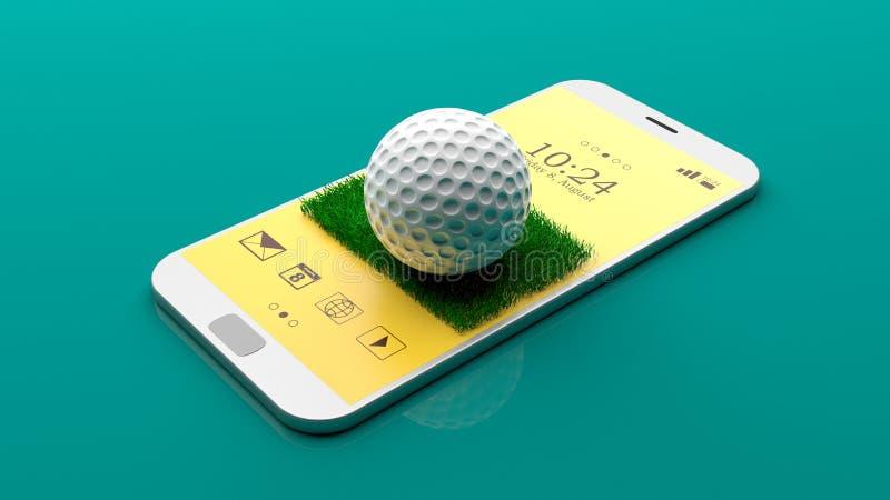 Golfbal op het smartphonescherm 3D Illustratie stock illustratie