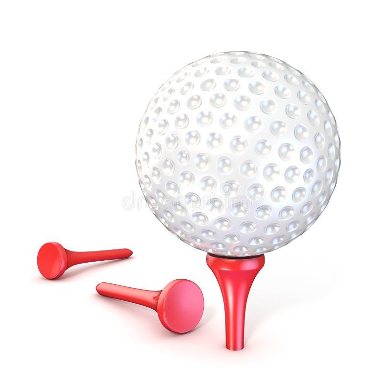 Golfbal op rood T-stuk royalty-vrije illustratie