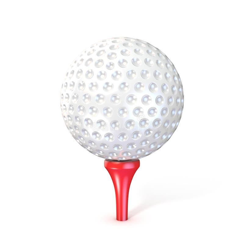 Golfbal op rood T-stuk stock illustratie