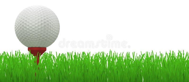 Golfbal op rood T-stuk in gras - royalty-vrije illustratie