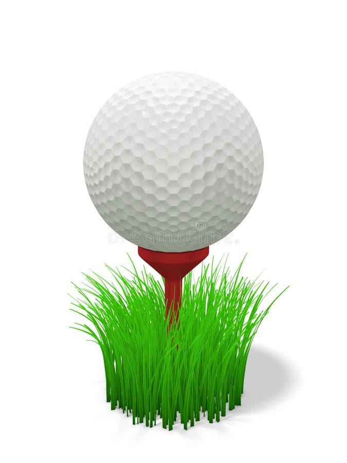 Golfbal op rood T-stuk - met gras royalty-vrije illustratie