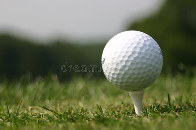 Golfbal op T-stuk (de echte cursus van het Golf) stock fotografie
