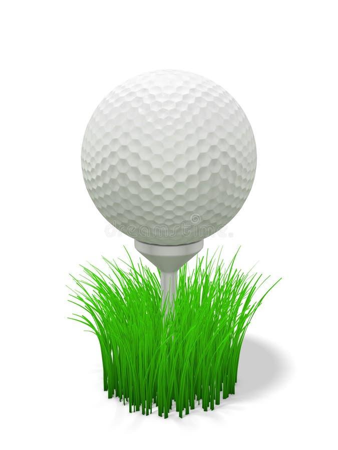 Golfbal op T-stuk - met gras stock illustratie