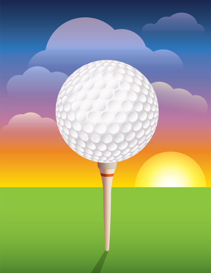 Golfbal op T-stukachtergrond stock illustratie