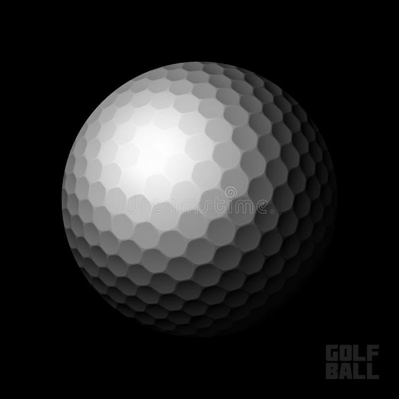 Golfbal op zwarte achtergrond royalty-vrije illustratie