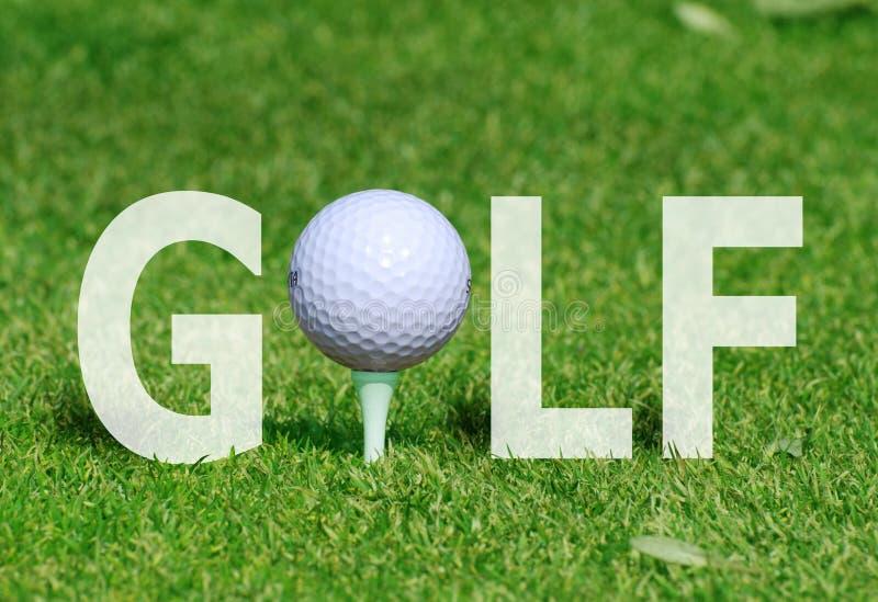 Golfbal in woord stock afbeelding